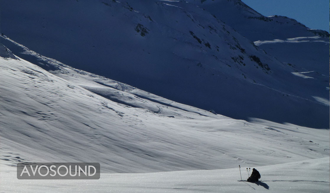 Field Recordist Guido Helbling records the silence in the mountain